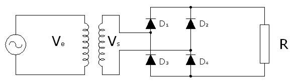 Circuito Rectificador : Rectificador monofásico de onda completa